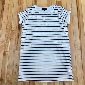 Lulu's Black and White Striped Tee Shirt Dress SzM